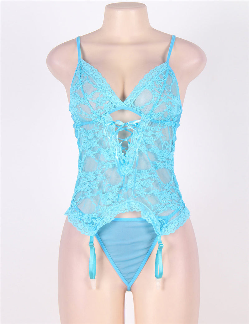 Classy Blue Plus Size Sheer Mesh See Through Back Hollow Babydoll Set