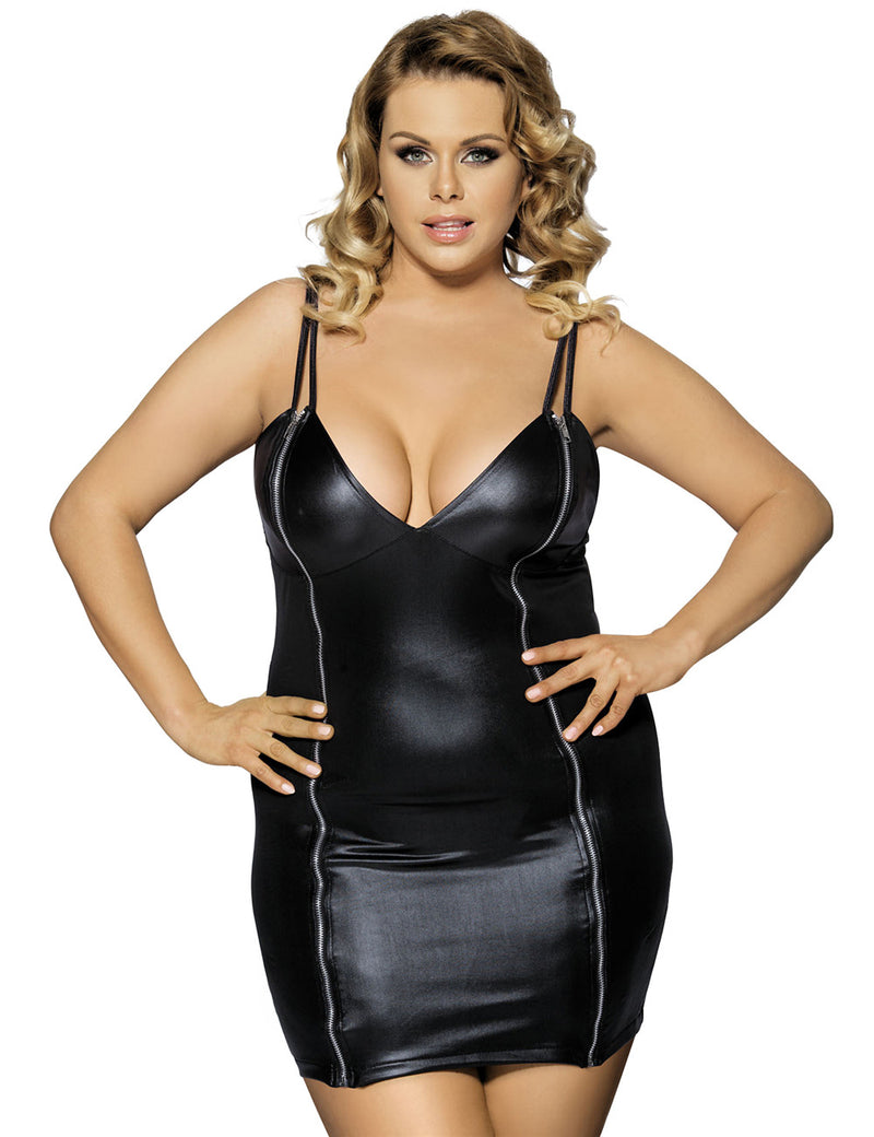 Women Sleeveless Black Faux Leather Sexy Plus Size Dresses