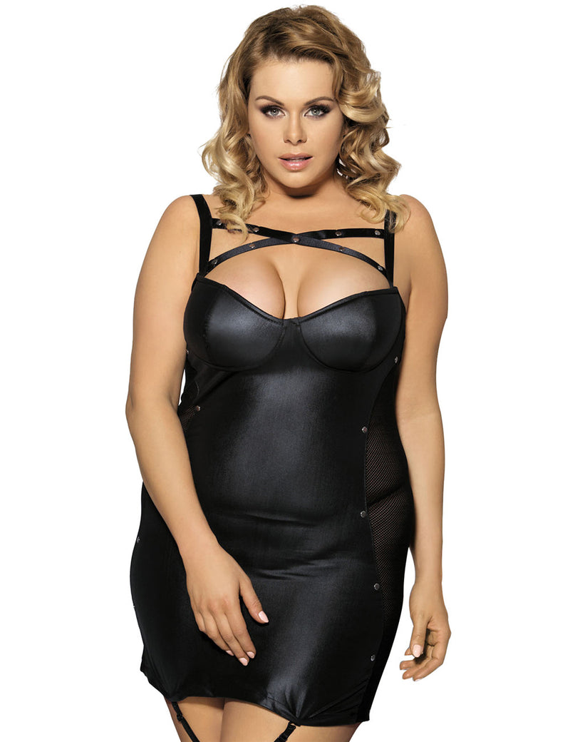 Stylish Black Faux Leather Dress Half Cup Women Sexy Lingerie