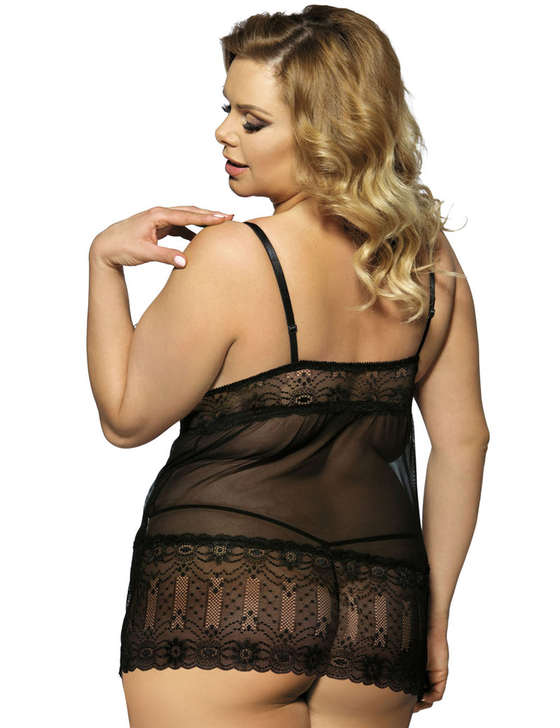 Black Lace See Through Nightdress V Neckline Babydoll Top