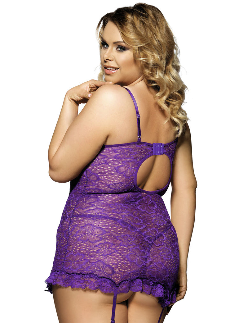 Exquisite Purple Floral Lace Underwired Women Babydoll Lingerie