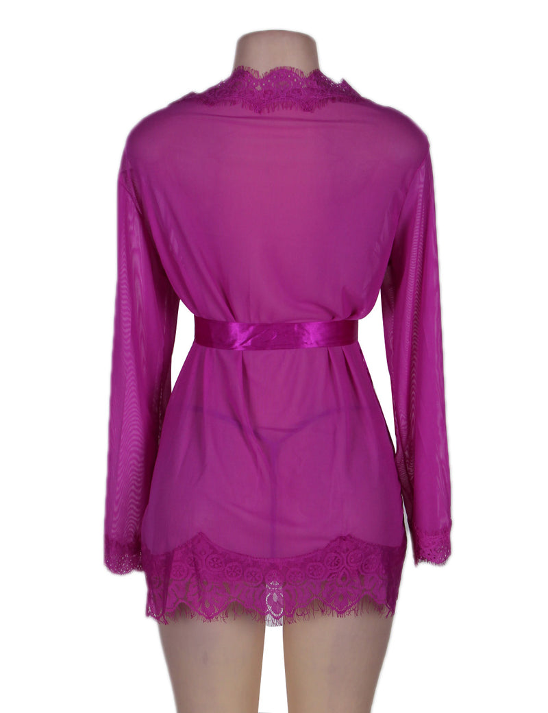 Alluring Purple Soft Mesh Long Sleeves Sexy Robe Pajama With Lace