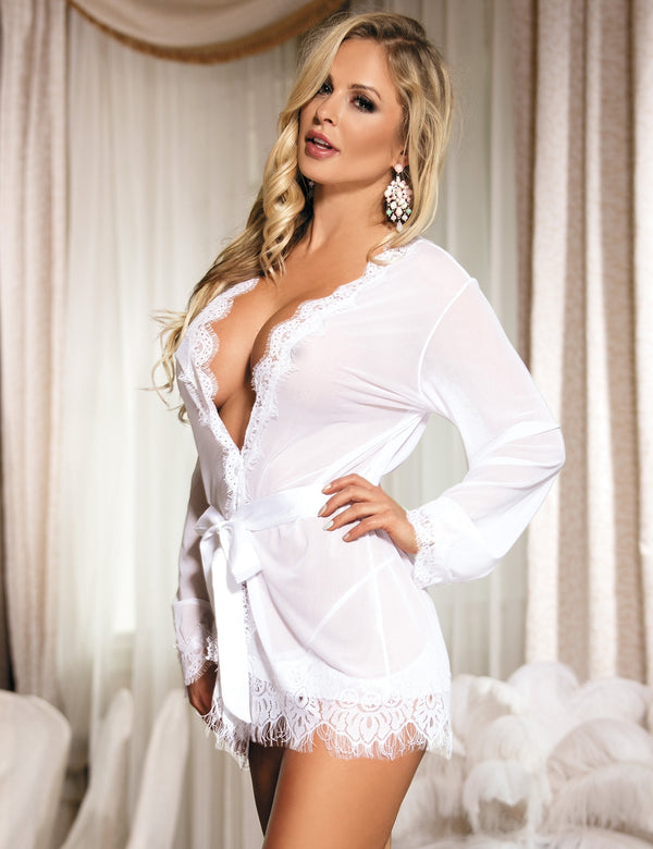 Extreme Soft White Mesh Sexy Robe Nightwear With Lace Decorated