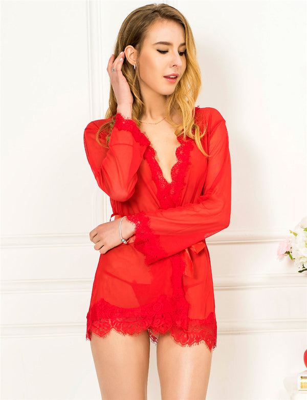 Elegant Red Mesh Long Sleeves Sexy Robe Sleepwear With Lace