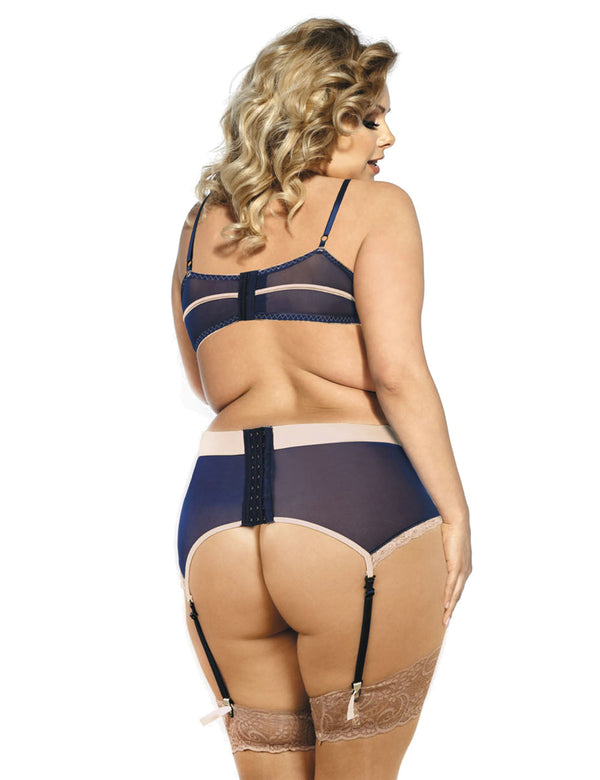 Gorgeous Plus Size Navy Bra Set Underwear With Beige Lace Decoration