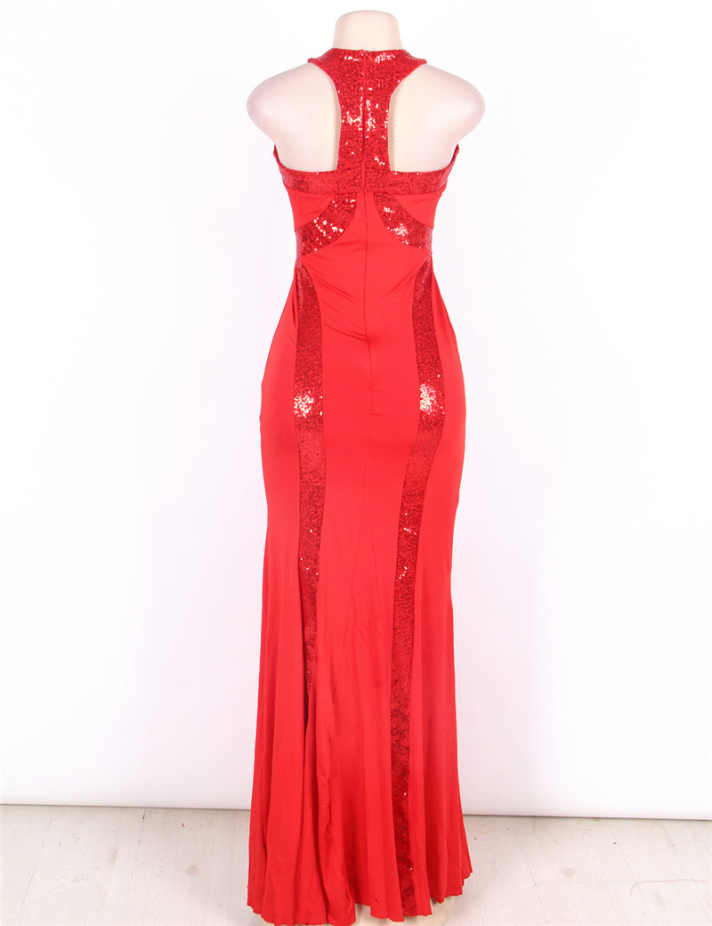 Delicate Red Round Neck Sequined Cutout Prom Dresses Evening Gown