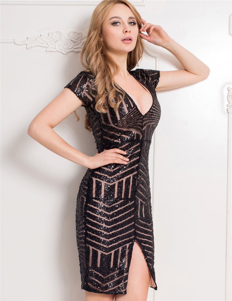 On Sale Superb Sequined V Neckline Women's Sexy Bodycon Club Dress