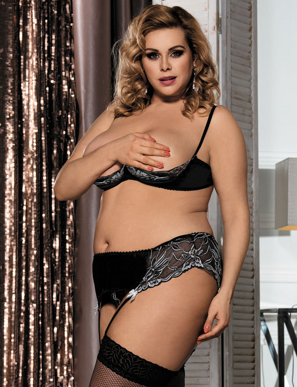 Plus Size Open Cup Sexy Bra Underwear Set With Lace Decoration