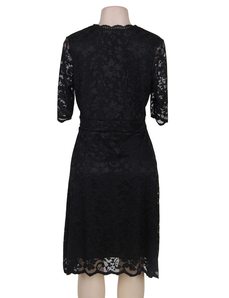 Soft and Comfortable V Neck Black Lace Women Plus Size Dress