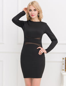 Woman Dresses Autumn Summer Black Long Sleeve Dress Part see throug Casual Sex Dress Club Wear Bodycon Dress