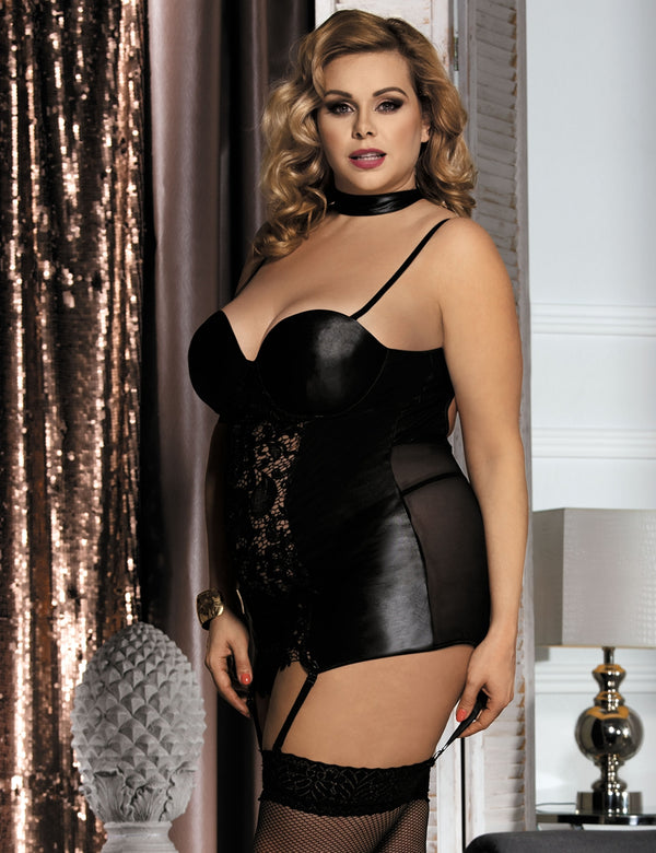 Black Floral Plus Size Faux Leather Babydoll Lingerie Sexy Chemise