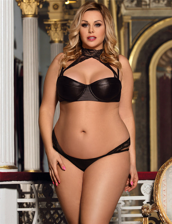 Delicate Plus Size Leather Underwired Sexy Bra Set With Lace