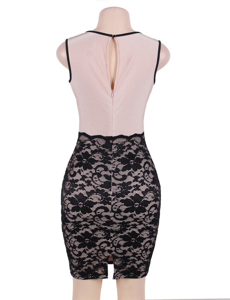 Plus Size Fashion Black Floral Lace Stitching Boat Neck Dress