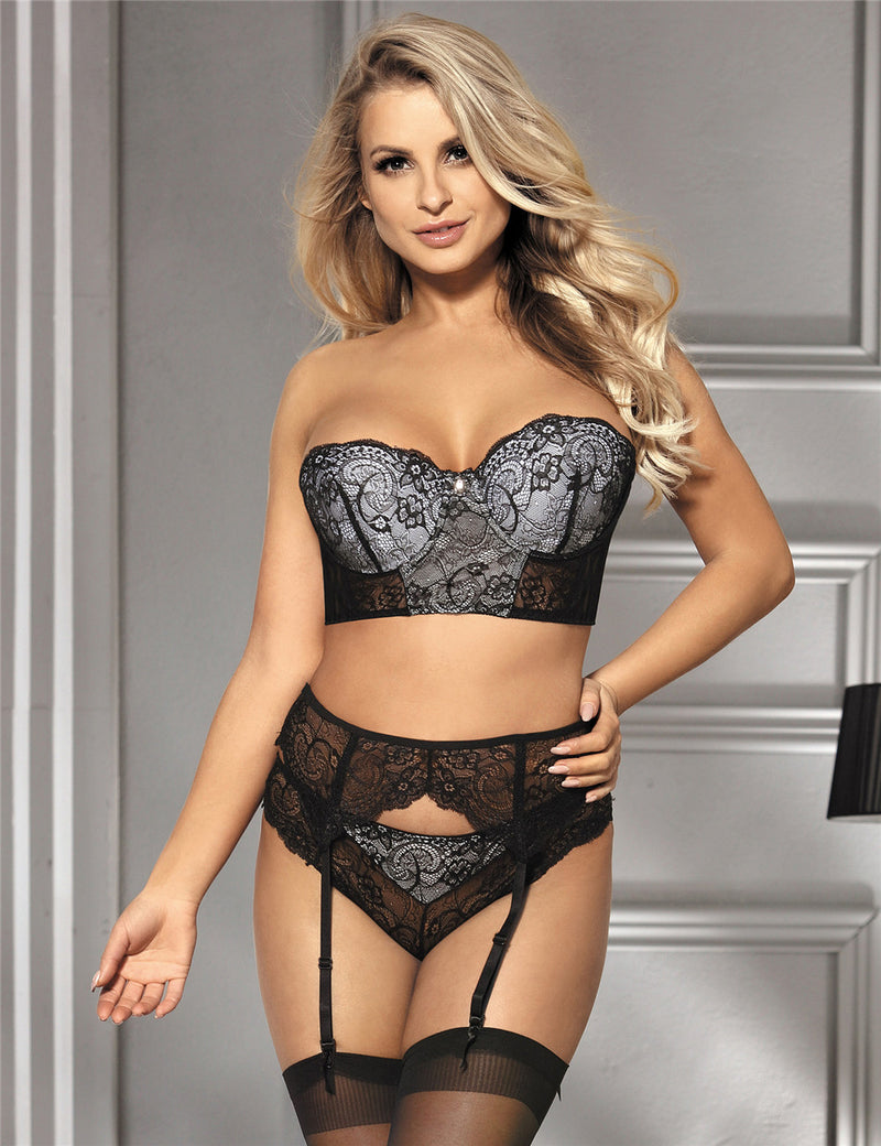 Free Shipping Delicate Plus Size Black Lace Underwired Sexy Bra Set