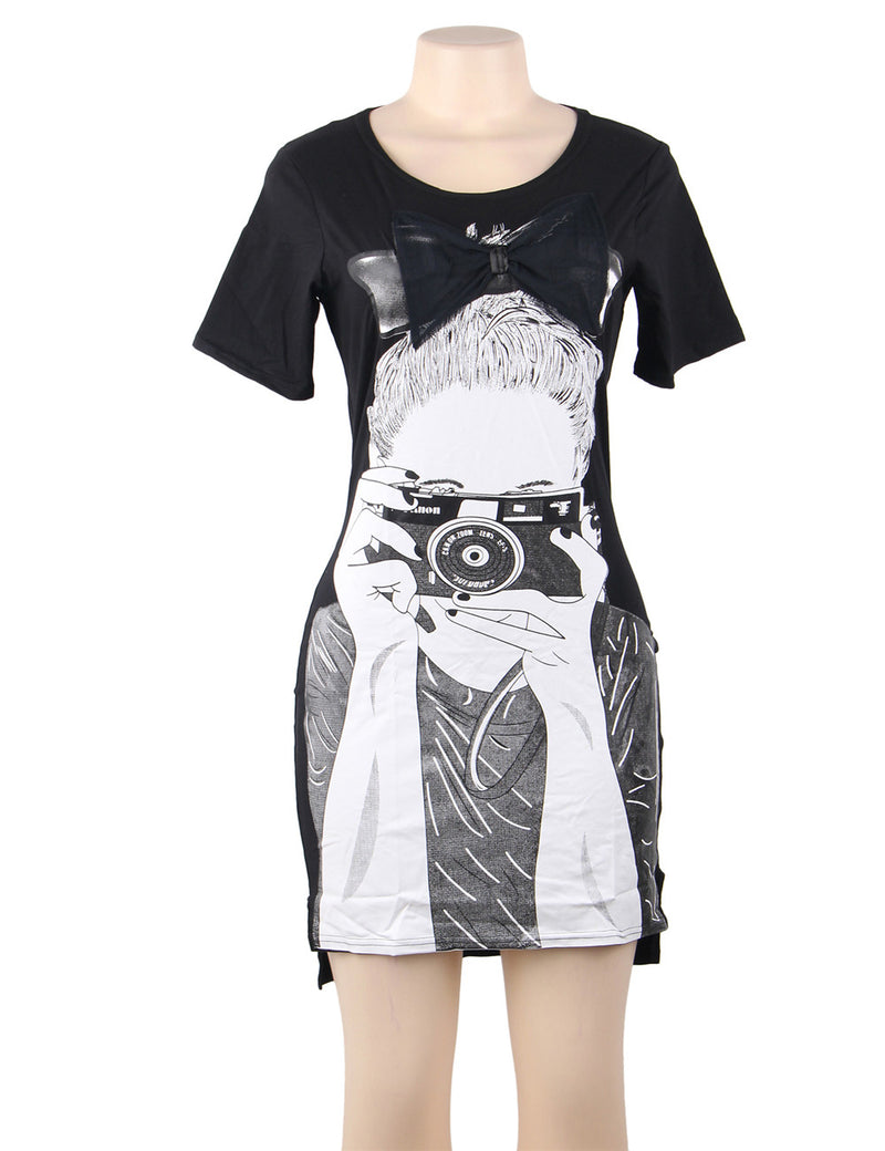 Soft Printed Cotton Casual Long T shirt Plus Size Womens Clothing