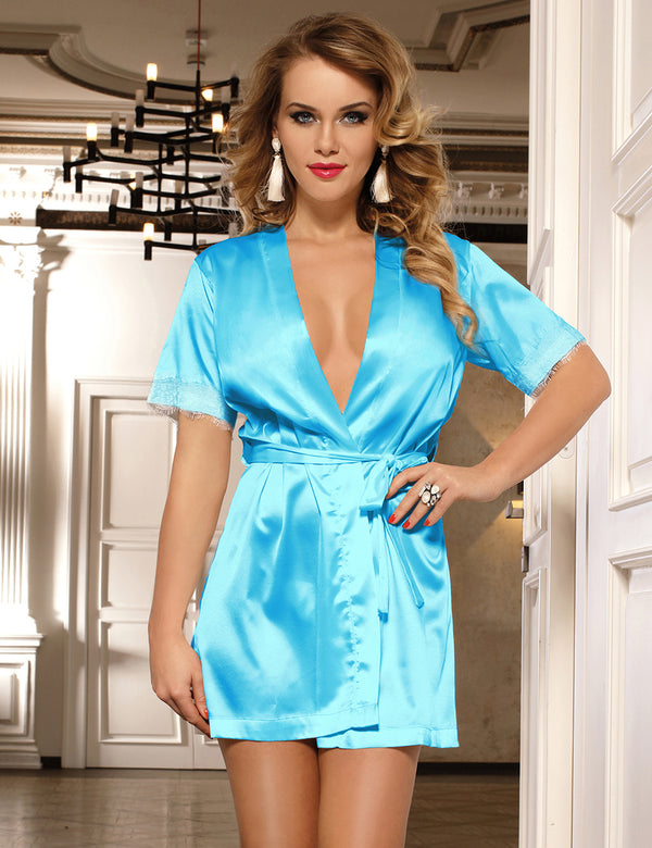 Blue Satin Loungewear Short Sleeves Lace Stitched Silky Robe