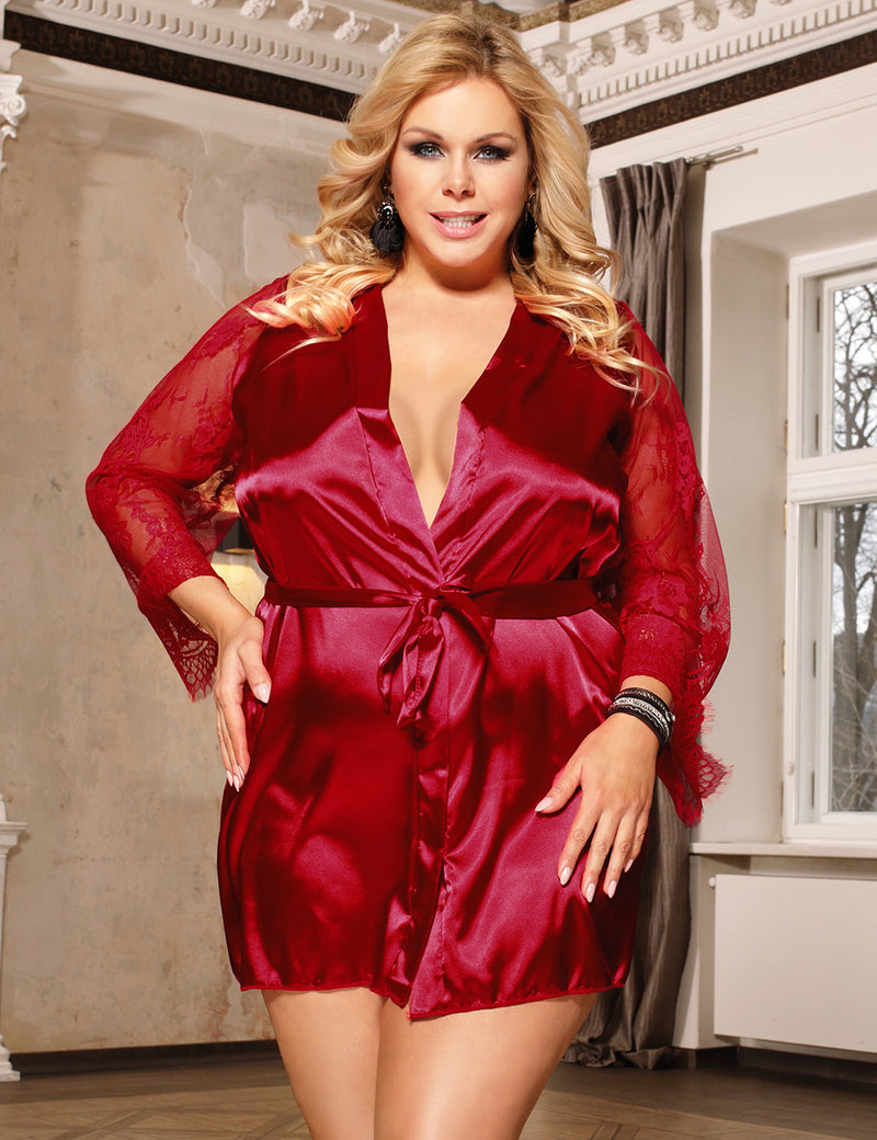 Wine Red Silky Robe Delicate Lace Sleeves Satin Pajama
