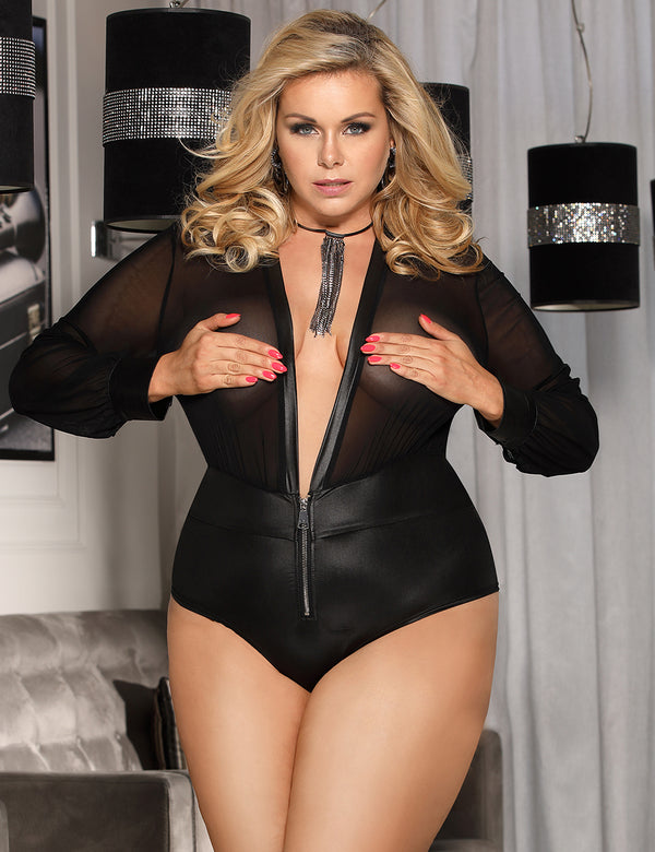 Plus Size Stylish V-neck Mesh Long Sleeves Leather Bodysuit