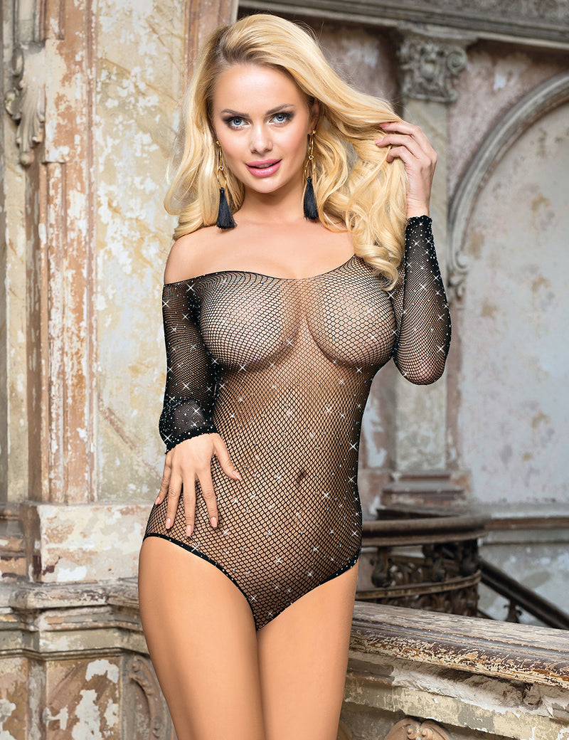 Stylish Off Shoulder Long Sleeves Rhinestone Attach Fishnet Bodysuit