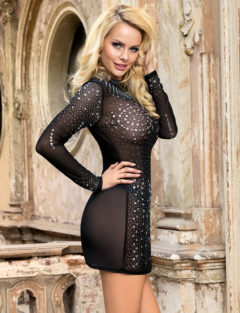 Black Sheer Mesh Rhinestone Attached Sexy Club Wear Transparent Skirt
