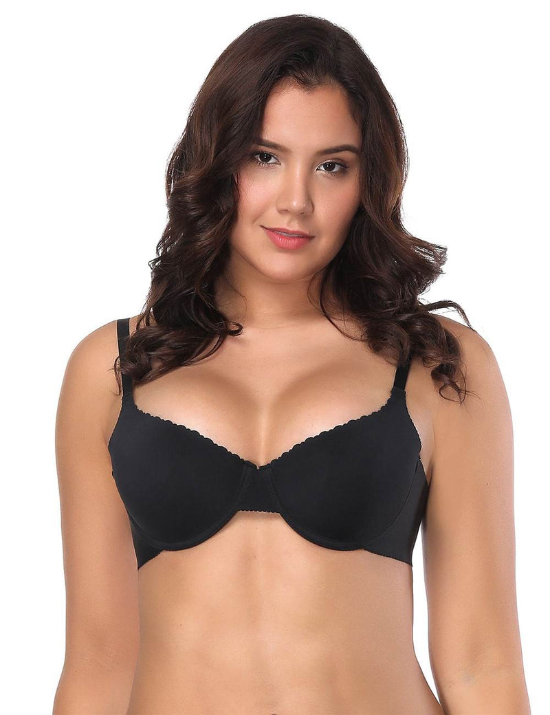 Plus Size Soft and Smooth Seamless Underwired Push Up T-shirt Bra