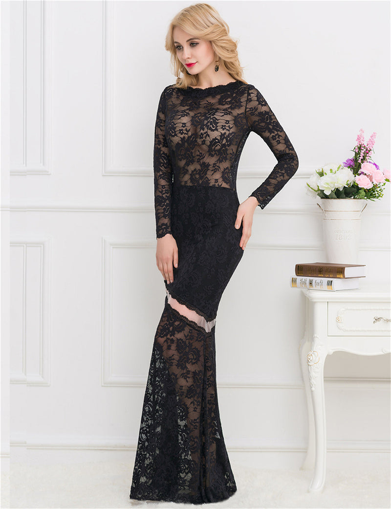 Super Elegant Black Lace See Through Sexy Long Evening Dress