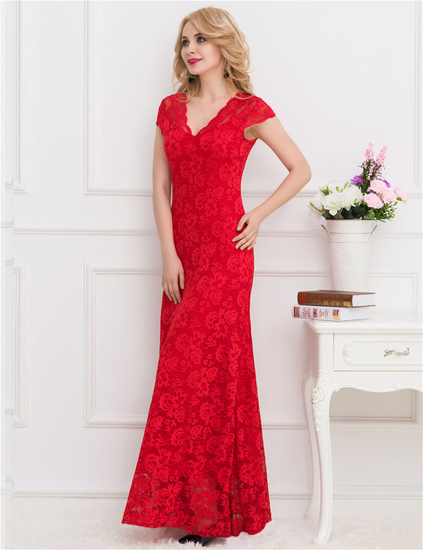 Wedding Party Long Dresses V-neck Red Lace Maxi Evening Dress