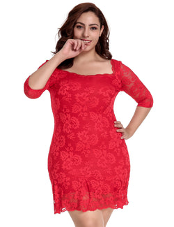 Good Quality Red Lace Ladies Half Sleeves Plus Size Bodycon Dress