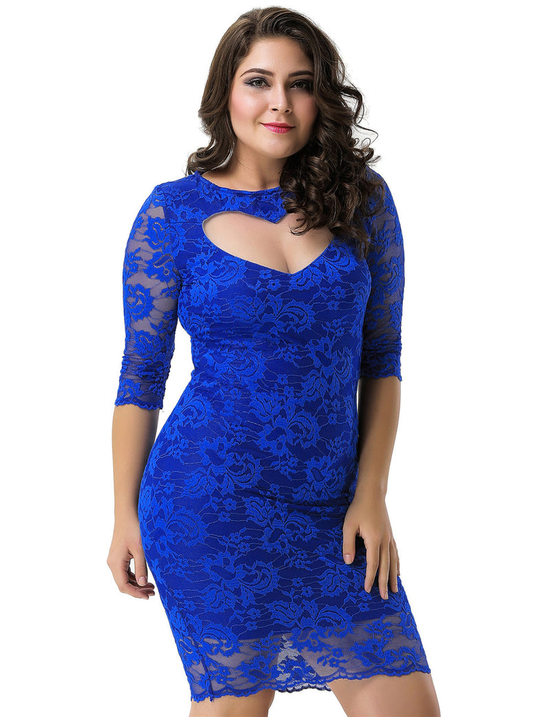 Sweet Heart Back Hollow Fashion Plus Size Dresses For Women