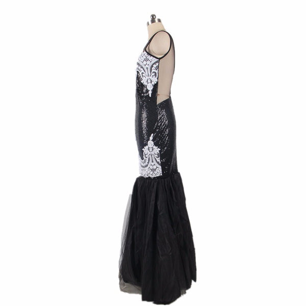 Sexy Lace Vestidos De Fiesta Sequin Applique Maxi Mermaid Dress Sleeveless Backless Plus Size Party Dresses