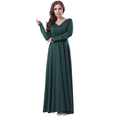 Top selling long sleeve elegant lady dress with belt long length green maxi dress fashion design popular plus size dress