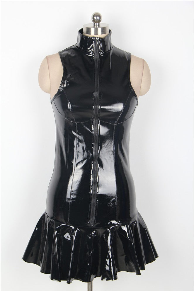 Exquisite Black Faux Leather Sleeveless Girls Sexy Club Dress