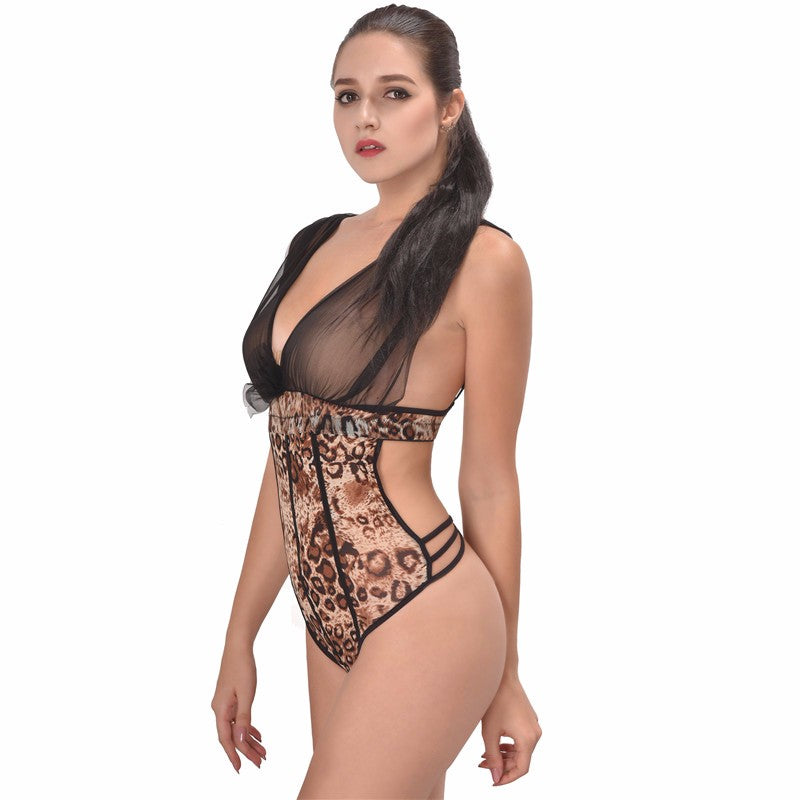 Erotic Leopard Backless Bodysuit Sleepwear Women Teddy Lingerie