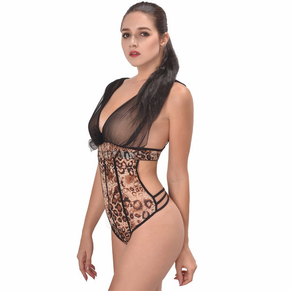 Sex Babydoll Lingeire Exotic Leopard Teddy Backless Bodysuit Sleepwear Teddies Lace Sex Women Teddy Lingeries