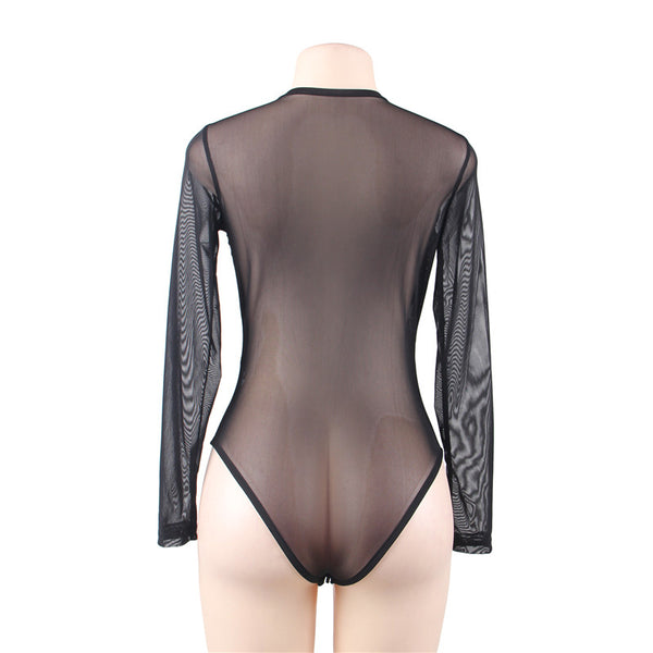 Hot Sex Shop Para Mulher Sex Bodysuit Jumpsuits Sexy  Black Long Sleeve Flowers Embroidery Chested Teddy