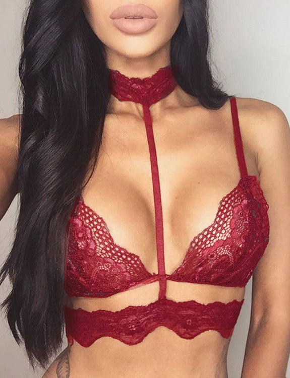 red Seductive Strappy Choker Lace Bra Lingerie