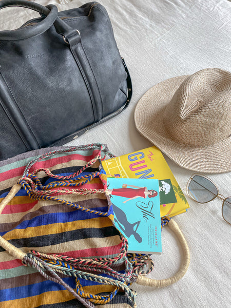 Beach Reads, Roscoe Village Books, Sun Hat, Straw Hat, Striped Bag, Leather Bag, Weekend Packing Tips