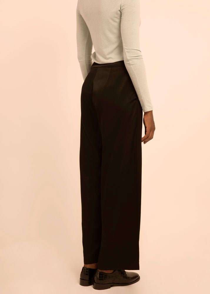 Wide Leg Black Satin Pants