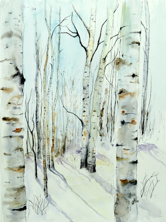 Winter Aspens giclee print  •Will be available to ship 11/20/19•
