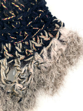 Load image into Gallery viewer, Black Cream Crochet Cowl Scarf