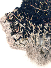 Load image into Gallery viewer, Black Crochet Cowl Scarf Close Up