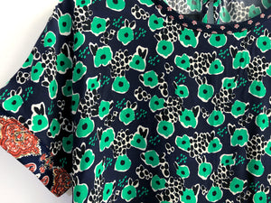 Green Floral Blouse SAMPLE / M-L