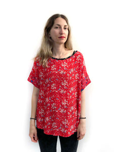 Red Floral Blouse SAMPLE / M