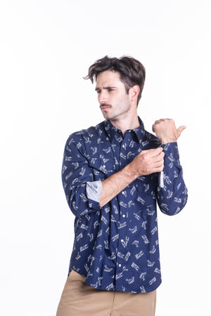 Planes Bib Front Shirt in Navy