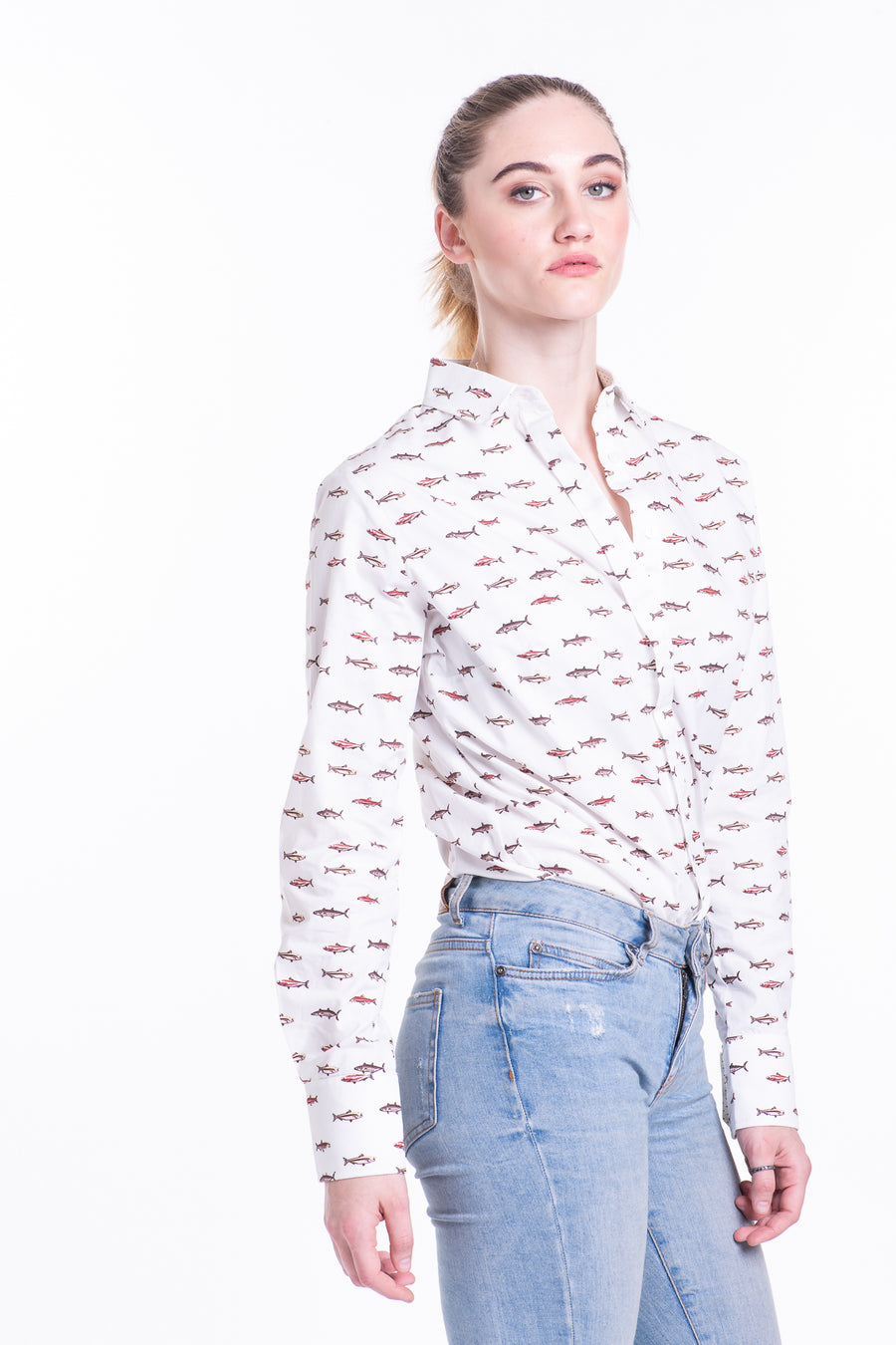 Reversed Concealed Shirt In Fish Print