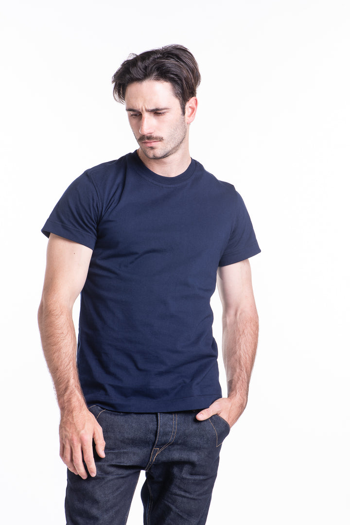 Basic Cotton Tee in Navy