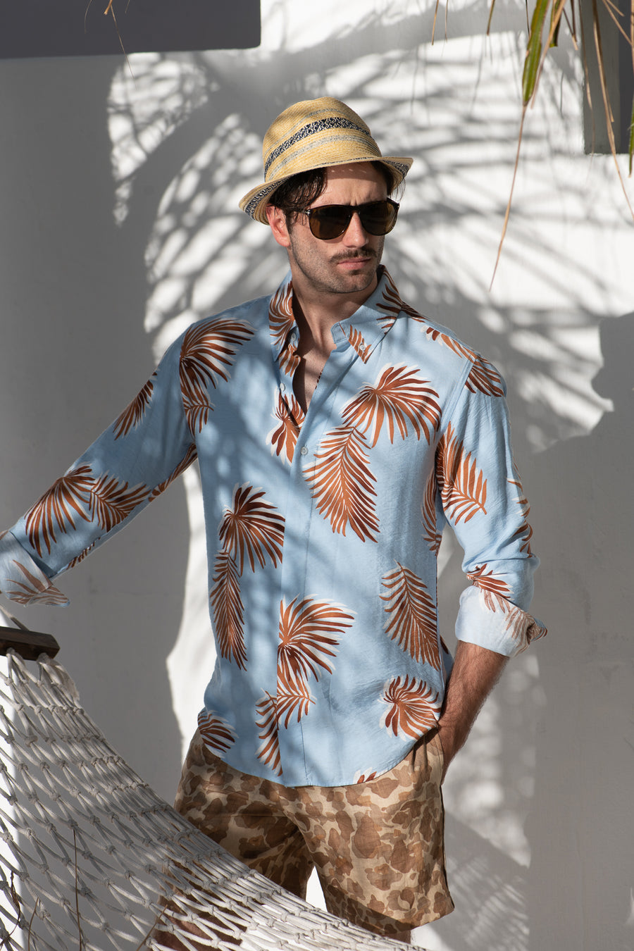 Tropical Concealed Shirt Blue