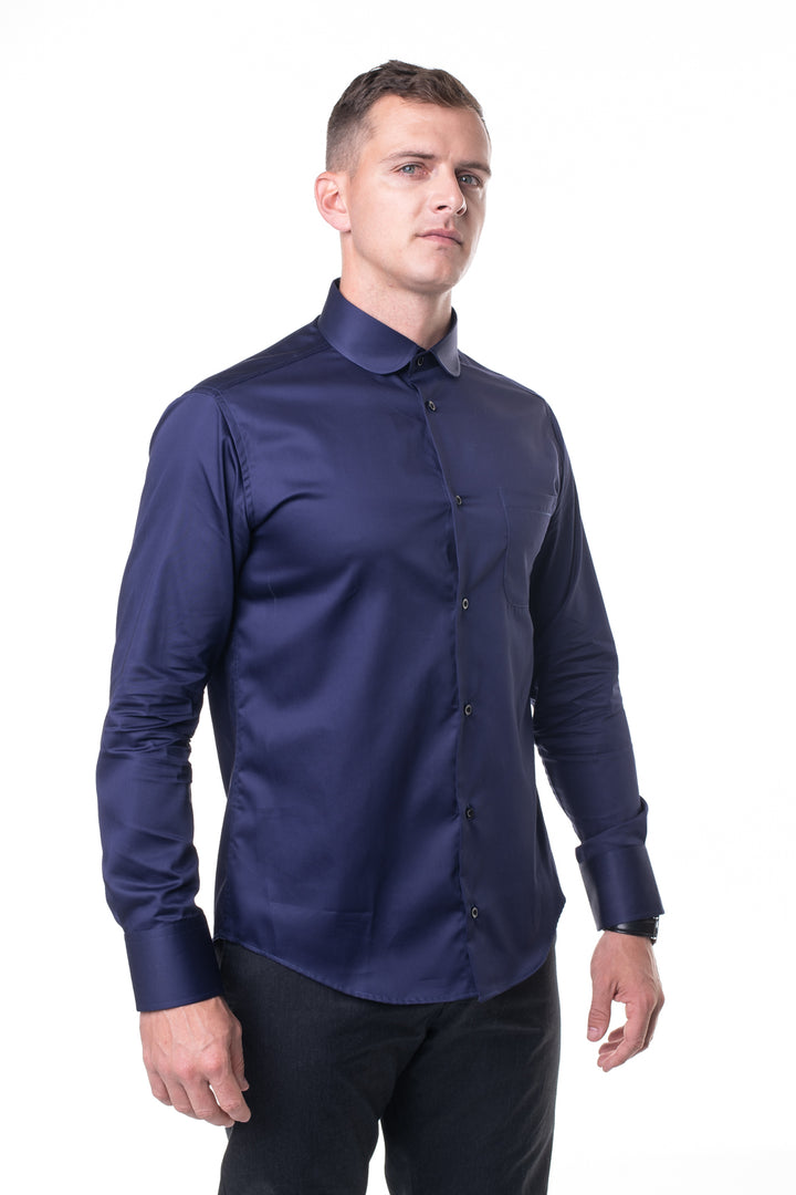 Navy Round Collar Shirt