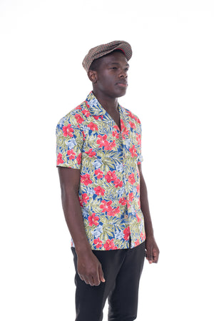 Hibiscus Floral Bowling Shirt