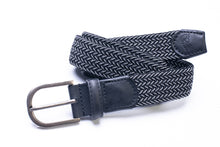 Load image into Gallery viewer, Elasticated Woven Belt in Black and Grey